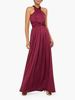 Monsoon Tallulah Multi Tie Bridesmaid Dress, Burgundy