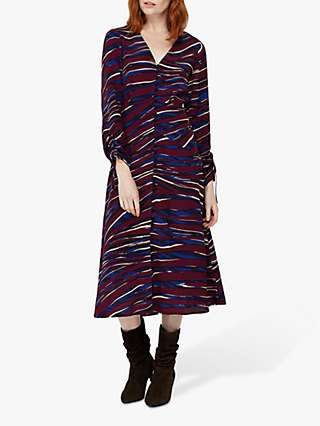 Monsoon Lexi Printed Midi Dress, Burgundy