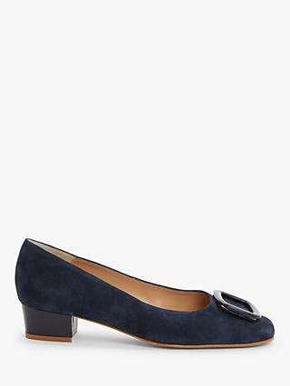 John Lewis & Partners Aurora Suede Low Block Heel Court Shoes, Navy