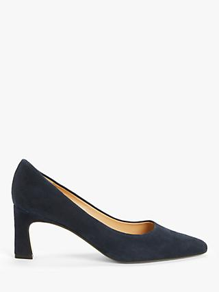 John Lewis & Partners Aeva Suede Flared Stiletto Heel Court Shoes, Navy