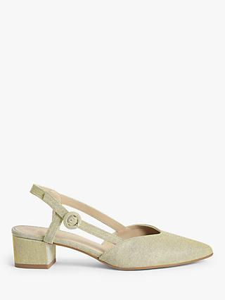 John Lewis & Partners Alyssa Low Heel Slingback Court Shoes, Gold