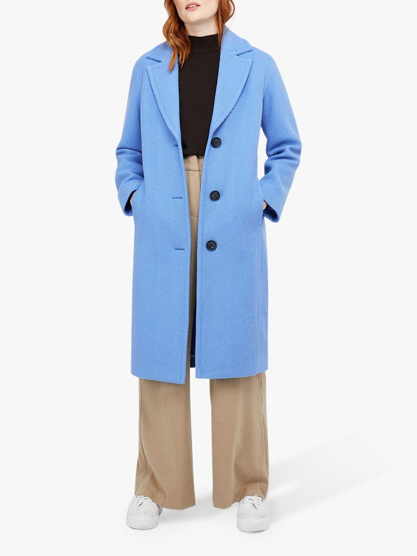 Monsoon Monsoon April Textured Coat, Blue