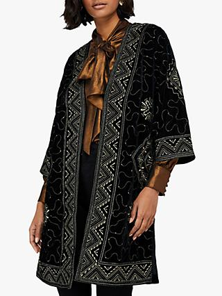 Monsoon Varena Embroidered Velvet Longline Jacket, Black