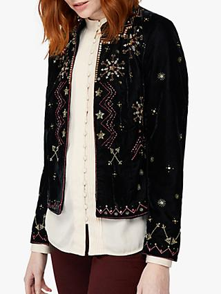 Monsoon Ember Embroidered Velvet Jacket, Black