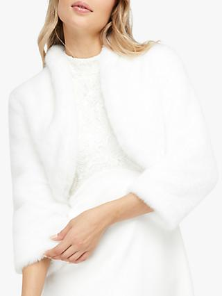 Monsoon Maria Faux Fur Crop Jacket, Ivory