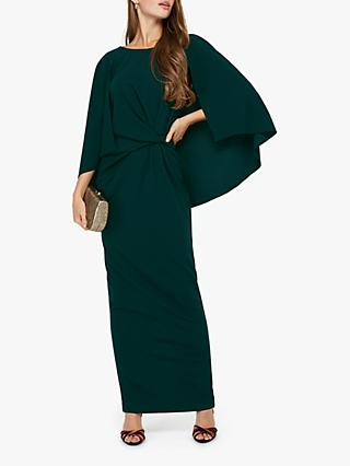 Monsoon Cara Cape Maxi Dress, Dark Green