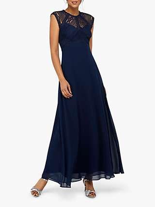 Monsoon Lolita Lace Maxi Dress, Navy