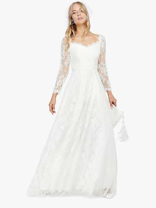Monsoon Cecily Bridal Bardot Lace Maxi Dress, Ivory