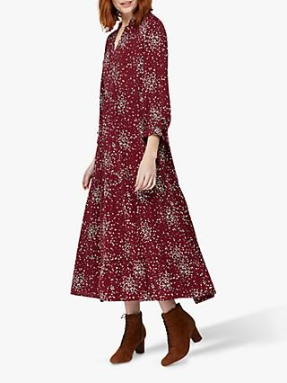 Monsoon Eve Spot Midi Dress, Burgundy