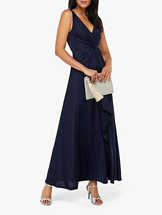 Monsoon Jessie Jersey Twist V-Neck Maxi Dress, Navy