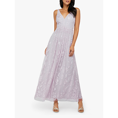 Monsoon Lavinia Embroidered Maxi Dress, Purple