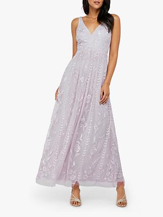 Monsoon Lavinia Embroidered Maxi Dress, Purple