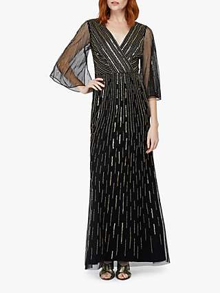 Monsoon Lizzie Linear Embellished Maxi Dress, Black