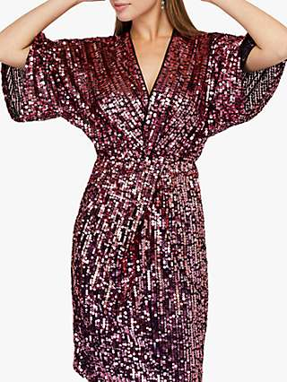 Monsoon Samba Sequin Short Dress, Pink
