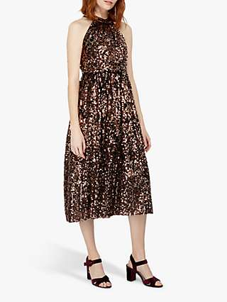 Monsoon Scarlett Sequin Halterneck Midi Dress, Bronze