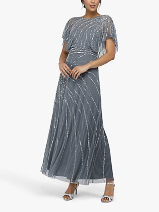 Monsoon Florence Embellished Flutter Sleeve Maxi Dress