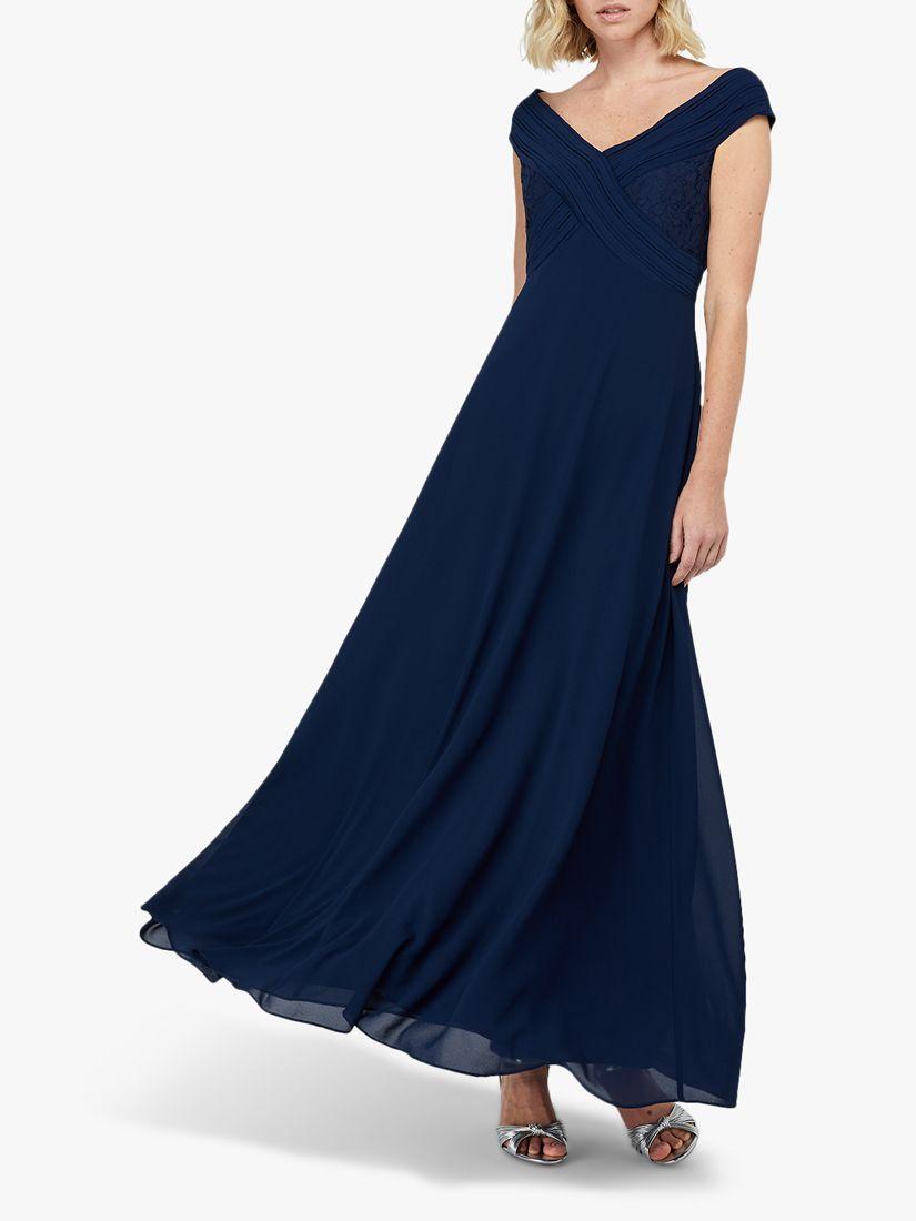 Monsoon Monsoon Bethany Bardot Pleat Lace Maxi Dress, Navy