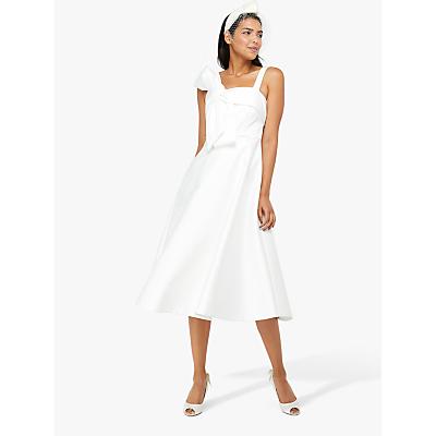 Monsoon Carrie Bridal Satin Bow Midi Dress, Ivory
