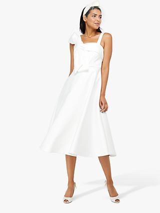 Monsoon Carrie Bridal Satin Bow Midi Dress, Ivory