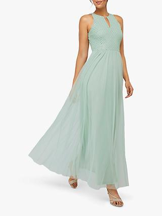 Monsoon Sophia Embellished Tulle Maxi Dress, Green