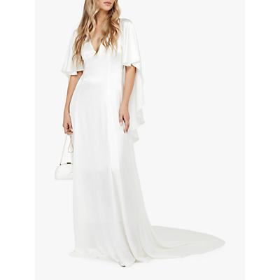 Monsoon Vera Bridal Satin Cape Maxi Dress, Ivory