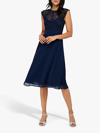 Monsoon Lolita Lace Midi Dress, Navy
