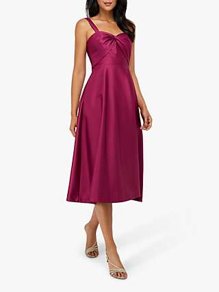 Monsoon Savannah Twist Neck Satin Midi Dress, Rose
