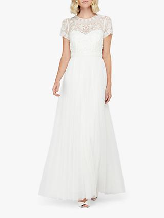 Monsoon Olive Bridal Embellished Tulle Maxi Dress, Ivory