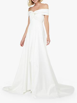 Monsoon Hannah Bardot Satin Bridal Dress, Ivory