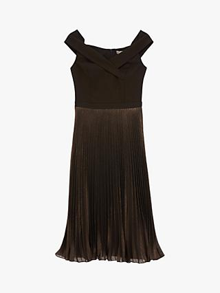 Oasis Metallic Bardot Dress, Bronze