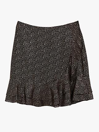 Warehouse Spot Print Mini Skirt, Black