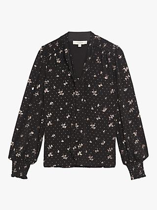 Oasis Abigail Pussybow Blouse, Black/Multi