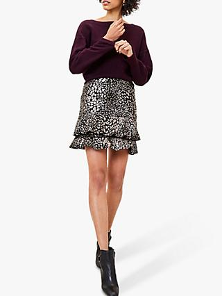 Oasis Foil Leopard Print Mini Skirt, Black/Multi