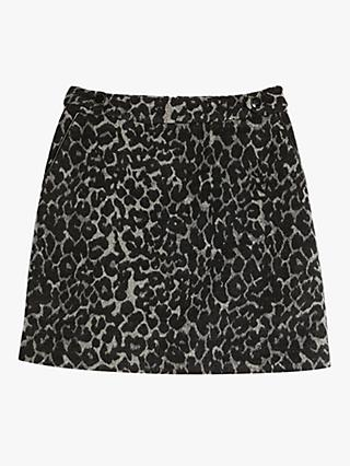 Oasis Leopard Print Mini Skirt, Mid Grey
