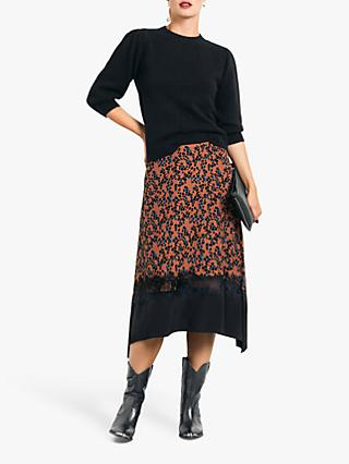 hush Lace Midi Skirt, Abstract Skin Print