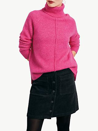 hush Mara Roll Neck Jumper, Bright Pink