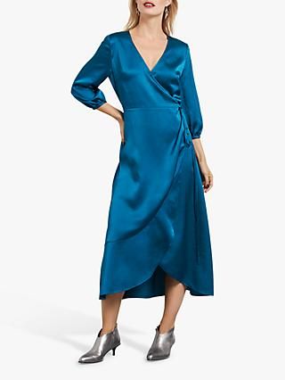 hush Saige Side Tie Wrap Dress, Calder Blue
