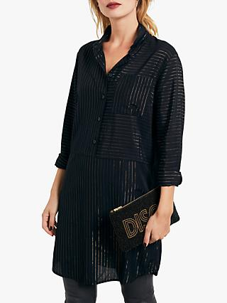 hush Metallic Stripe Shirt Dress, Black/Gold Stripe