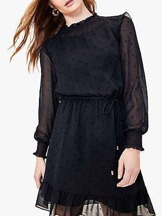 Oasis Flocked Spot Dress, Black