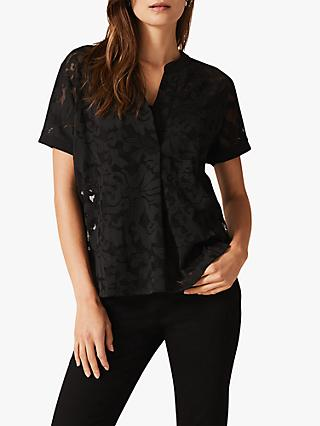 Phase Eight Lesley Lace Blouse, Black