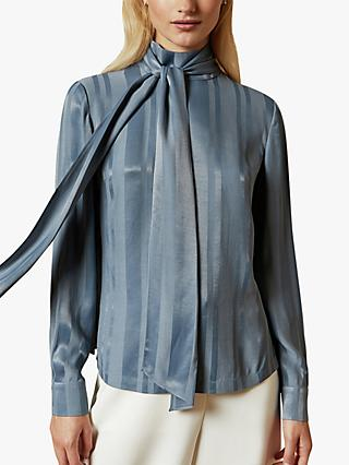 Ted Baker Zoretta Stripe Satin Blouse, Blue