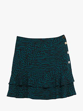 Oasis Mixed Animal Print Mini Skirt, Multi Green