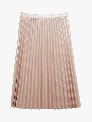 Oasis Faux-Leather Metallic Pleated Midi Skirt, Mid Pink