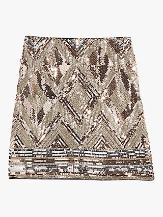 Oasis Sequin Mini Skirt, Bronze