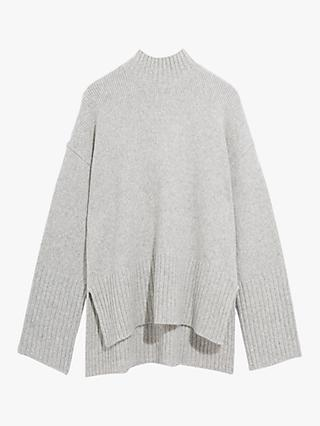 Oasis Stepped Hem Turtle Neck Jumper, Pale Grey