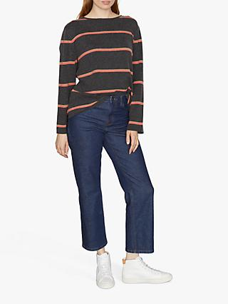 Jigsaw Slouchy Cashmere Stripe Jumper, Charcoal