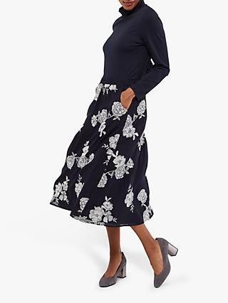 White Stuff Festive Flower Skirt, Navy