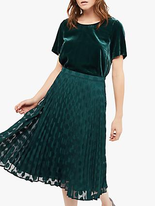 White Stuff Hina Pleated Midi Skirt, Teal
