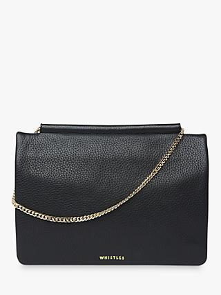 Whistles Nala Leather Chain Foldover Clutch Bag, Black