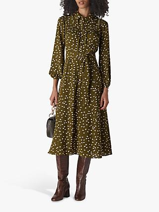 Whistles Shadow Spot Print Dress, Khaki